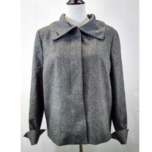 Talbots Size 14 Blazer Jacket Gray Button Down L/S